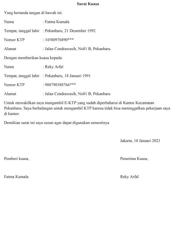contoh surat kuasa 01