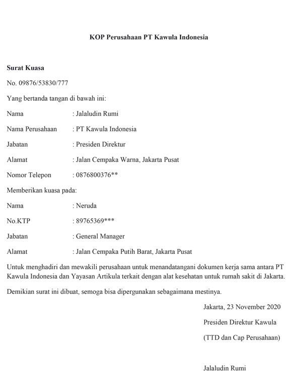 contoh surat kuasa 02